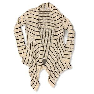 Ricki's cream black strip waterfall style cardigan